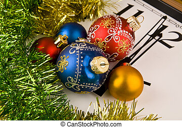 Christmas decorations on the background of hours