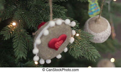 Christmas decorations on the branches fir Heart
