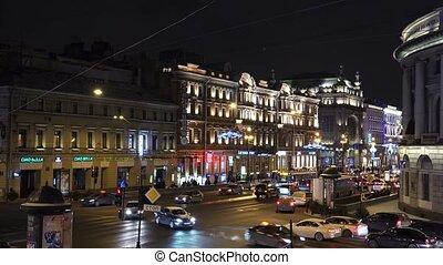 Christmas decorations on the Nevsky Prospekt in St. Petersburg. 4K.