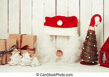 Christmas decorations on the table
