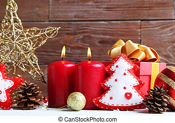 Christmas decorations on the wooden table