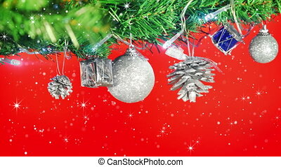 christmas decorations on tree and glitter loop