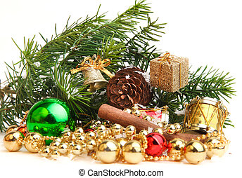 Christmas decorations on white background.
