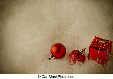 Christmas Decorations on White Fur - Vintage