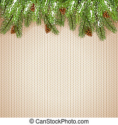 Christmas Decorations on White Knitted Background with Fir...