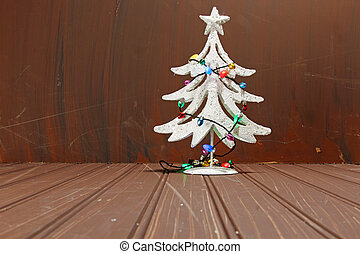 Christmas decorations on wood