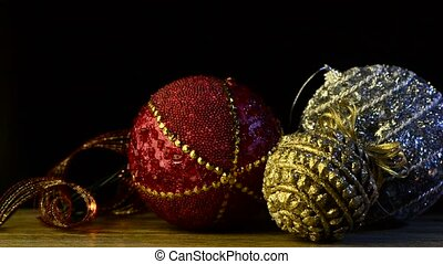 Christmas decorations on wood surface.