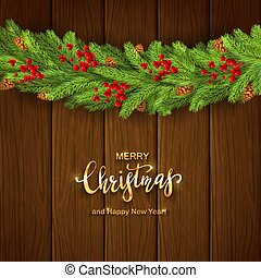 Christmas Decorations on Wooden Background with Holly Berries