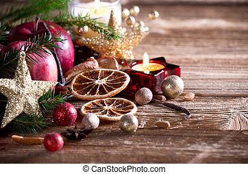 Christmas decorations on wooden table. Still life.