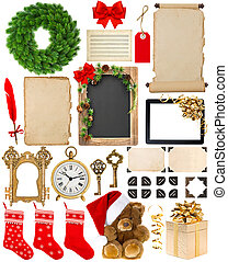 Christmas decorations, ornaments and gifts. Paper and frames isolated on white