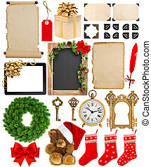 Christmas decorations, ornaments and gifts. Paper and photo frames