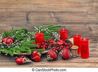 Christmas decorations ornaments Red baubles candles Holidays background