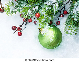 Christmas Decorations over Snow background