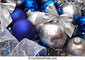 Christmas decorations - Close-up shot of silver and blue...