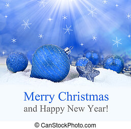Christmas decorations on defocused lights background. Merry...