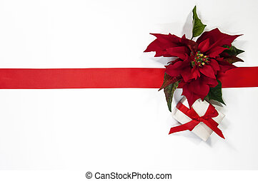 Christmas decorations poinsettia and gift boxes on white background