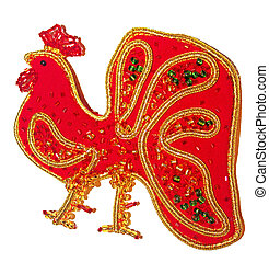 Christmas decorations red cock on a white background