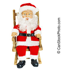 Santa Claus in chair figurine, isolated on white