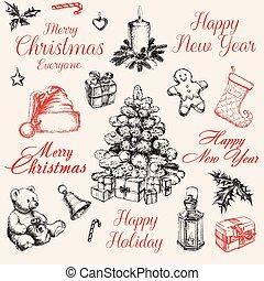 Christmas Decorations Set vector illustration
