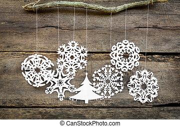 Christmas decorations snowflake ,christmas tree paper hanging ov