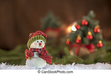 Christmas decorations. Snowman with Christmas tree in the background