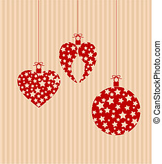 Christmas decorations striped background with place for...