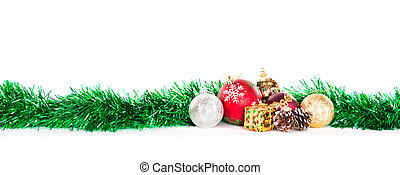 Christmas decorations - tinsel and globes, decorations for...