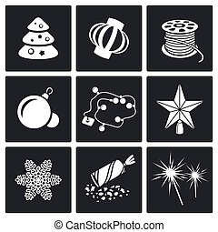 Christmas decorations Vector Icons Set