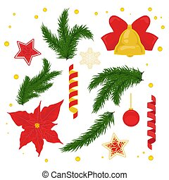 Christmas decorations vector set