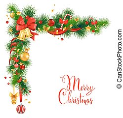 Christmas decorations with bells. Holiday background for...