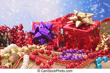 Christmas Decorations with Blue Sky Background and ...