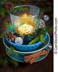 Christmas decorations with candle