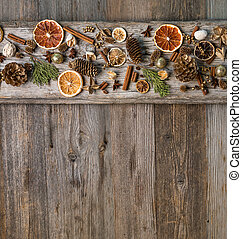 Christmas decorations with cinnamon and dried orange slices