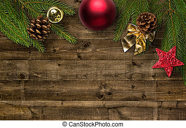 Christmas decorations with copy space