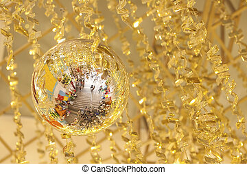 Christmas decorations with golden color