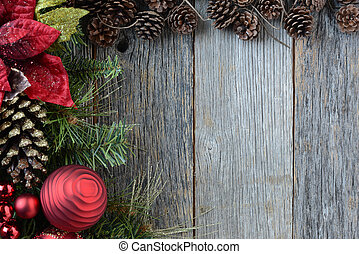 Christmas Decorations with Pine Cones and Rustic Wood...
