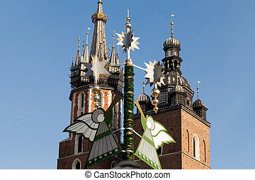 Christmas decorations with playing on trumpet angel ,