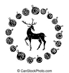 Christmas decorations with reindeer black and white