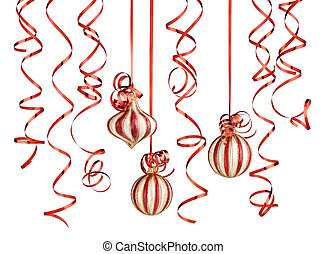 christmas decorations with ribbons and balls isolated over...