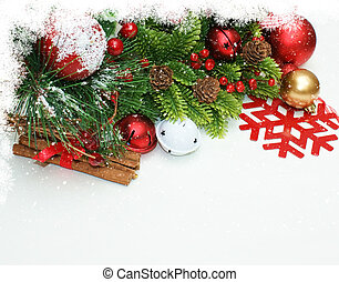 Christmas decorations with snowflake border