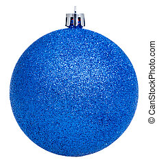 xmas blue ball isolated on white background