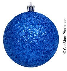 xmas dark blue ball isolated on white
