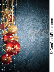 Christmas decorative background with abstract patterned wall...