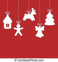 Christmas decorative baubles on red background