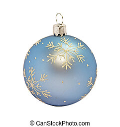 Christmas decorative blue ball on white background