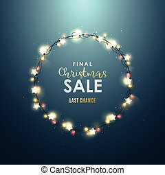 Christmas decorative circle frame with realistic light garlands.