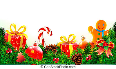 Christmas decorative composition - Vector illustration of ...