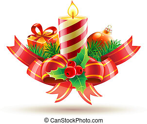 Vector illustration of decorative composition red bow, ribbons, candle, holly leaves and berries