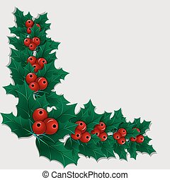 Christmas decorative corner element with holly leaves and berries