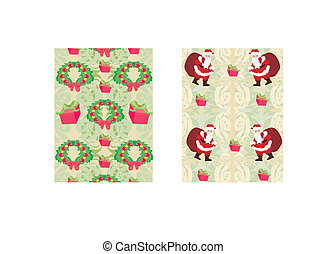 Christmas decorative elements and reindeer,santa and gifts seamless pattern background.